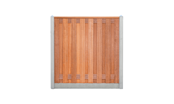 17-planks hardhouten schutting - beton grijs 200cm • Gras en Groen Schuttingen