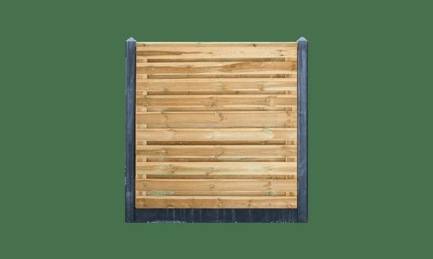 21-planks grenen schutting horizontaal - beton antraciet 200cm • Gras en Groen Schuttingen