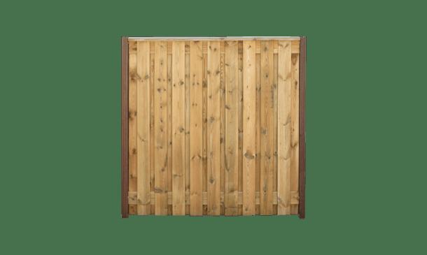 21-planks grenen schutting 180cm- hardhouten palen • Gras en Groen Schuttingen