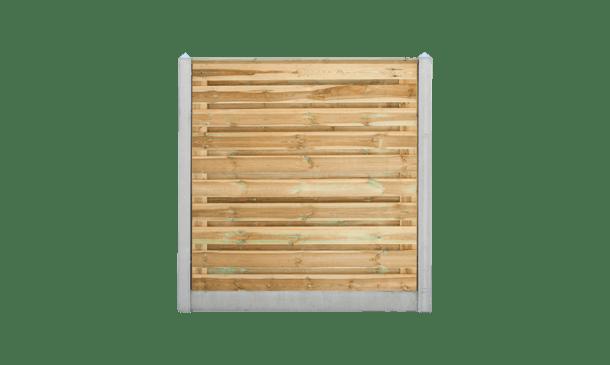 21-planks grenen schutting horizontaal - beton grijs 200cm • Gras en Groen Schuttingen