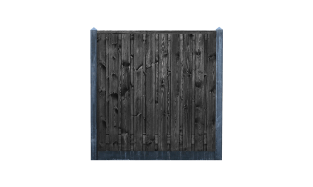 21-planks grenen schutting zwart - beton antraciet 200cm • Gras en Groen Schuttingen