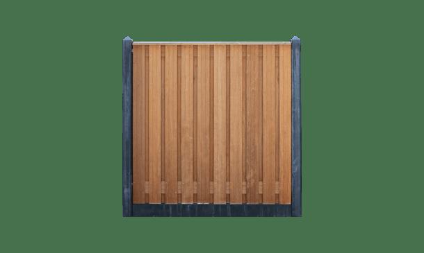 21-planks hardhouten schutting - beton antraciet 200cm • Gras en Groen Schuttingen