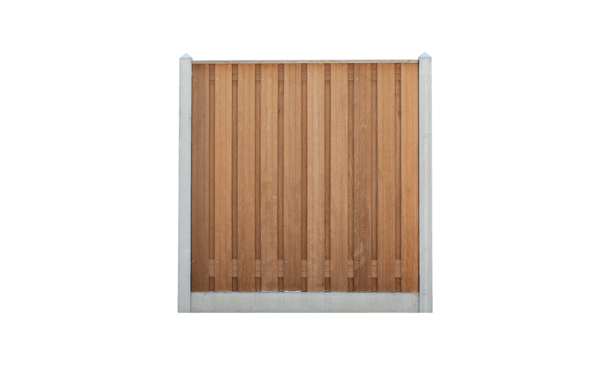 21-planks hardhouten schutting - beton grijs 200cm • Gras en Groen Schuttingen
