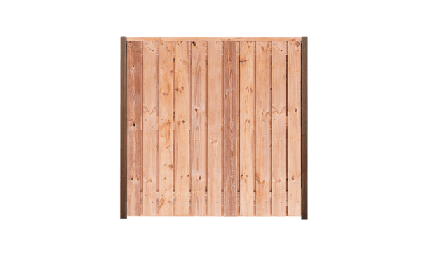 21-planks Red Class Wood schutting 180cm - hardhouten palen • Gras en Groen Schuttingen
