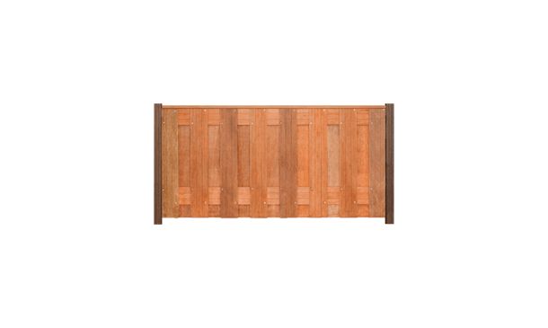 17-planks hardhouten schutting 90cm - hardhouten palen • Gras en Groen Schuttingen