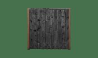21-planks grenen schutting zwart 180cm- hardhouten palen • Gras en Groen Schuttingen