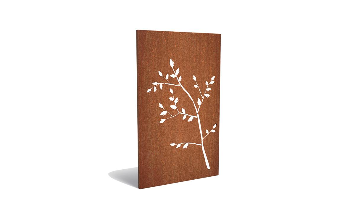 Tuinpaneel corten tak met blaadjes • Gras en Groen Winkel